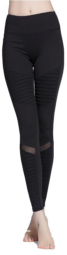 hottest sale arrives ever popular Hioffer Women's Moto Legging Mesh Pleated Yoga Pants Workout Leggings Slim  Pencial Pants Jeggings