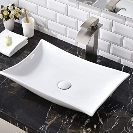 Contemporary 22 44 X 14 57 Porcelain Ceramic Above Counter Bathroom Vessel Sink Countertop Bowl Lavatory Vanity Big Bathroom Sink