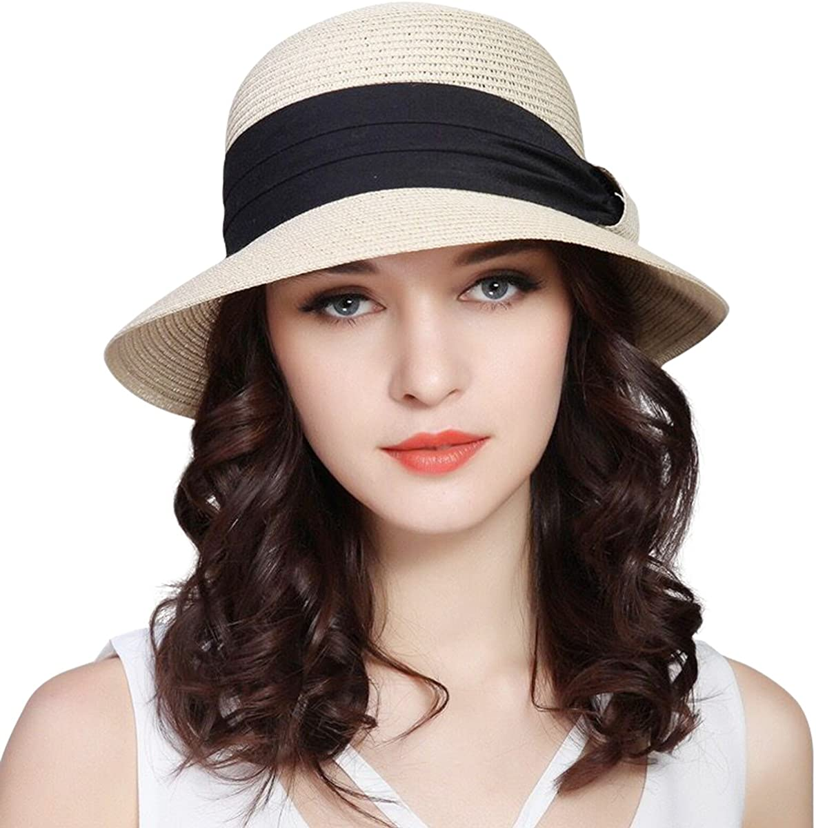 Flower Woman Sun Hats Foldable Wide Wave raw Hat Shade Summer Beach Cap Anti-Uv