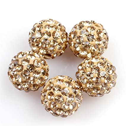 GEM-inside Lots Of Pave Shine Yellow 10MM Beads For Jewelry Making (10 Beads d34ee1ded4a6