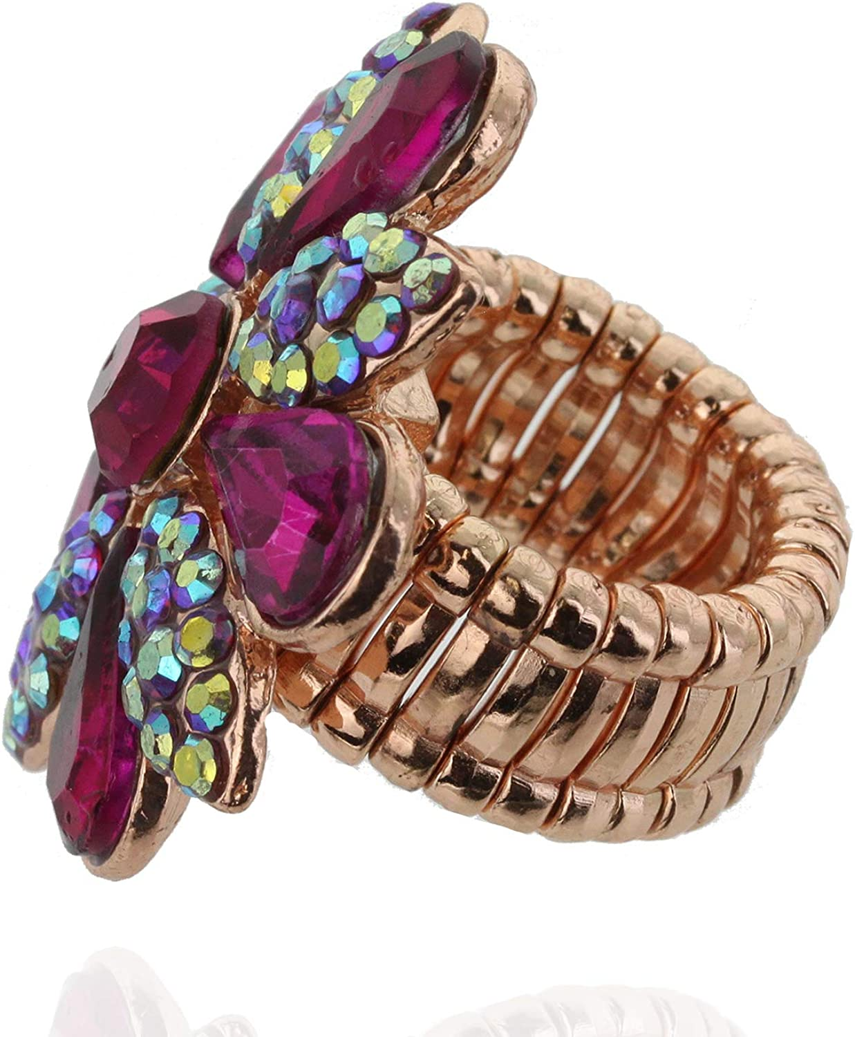SP Sophia Collection Fashion Flower Ring Embellished with Rhinestones and Austrian Crystals