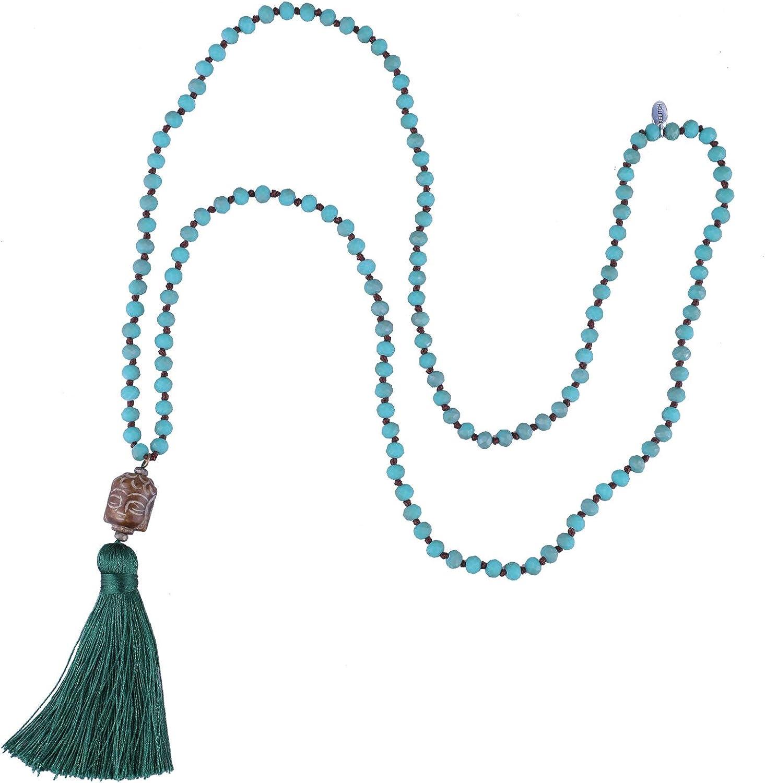 KELITCH Tallado Buda Cabeza Colgante Largo Cristal Rebordeado Collar Meditación Borla Encanto Collar Nuevo Joyería