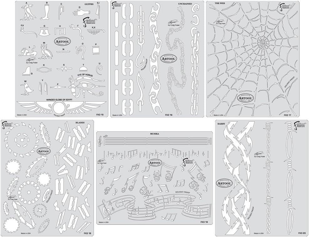 Iwata-Medea Artool Plantillas para aerógrafo de Manos Libres, Serie Mini FX 3: Amazon.es: Juguetes y juegos