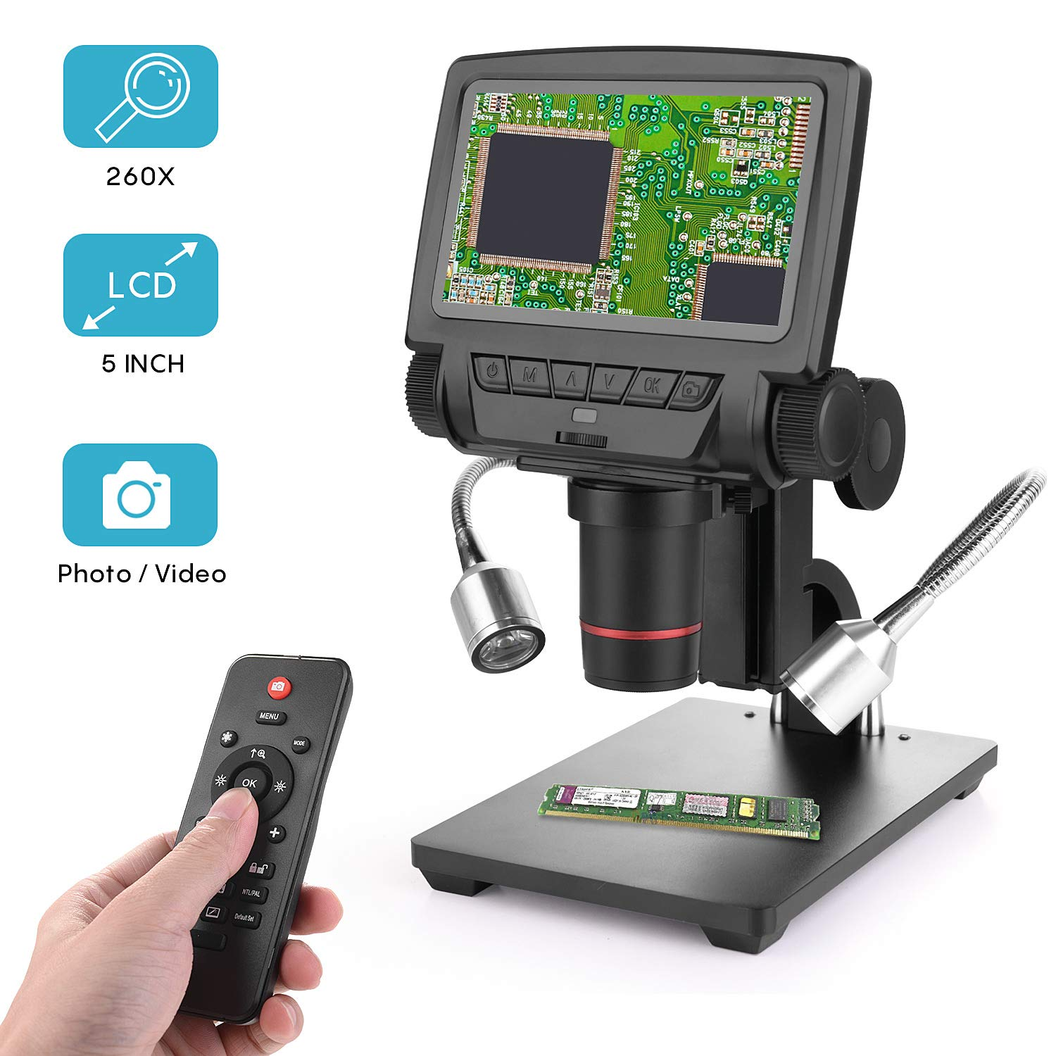 LCD Digital Microscope 5 in HD Screen High Magnification Camera Video Recorder, 8 LED 2 Fill Lights, with Remote Control, Compatible with Windows XP/7/8/10 by Amoper