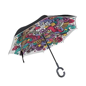 ALINLO Paraguas invertido diseño de Notas Musicales de Piano, Doble Capa, Paraguas inverso Resistente