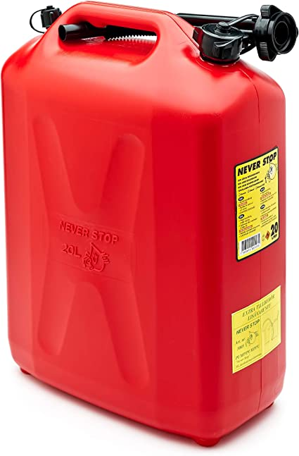 Never Stop 2620RED-PE3H Petrol Can 20 L Red Plastic with Overfill Protection