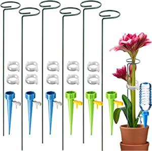 6 Pack Plant Support Stakes, Garden Single Stem Support Stake Plant Cage Metal Support Rings with 6 Self Watering Spikes, 10 Plant Clips for Potted Plants, Tomatoes, Flowers, Peony, Lily, 16 inch