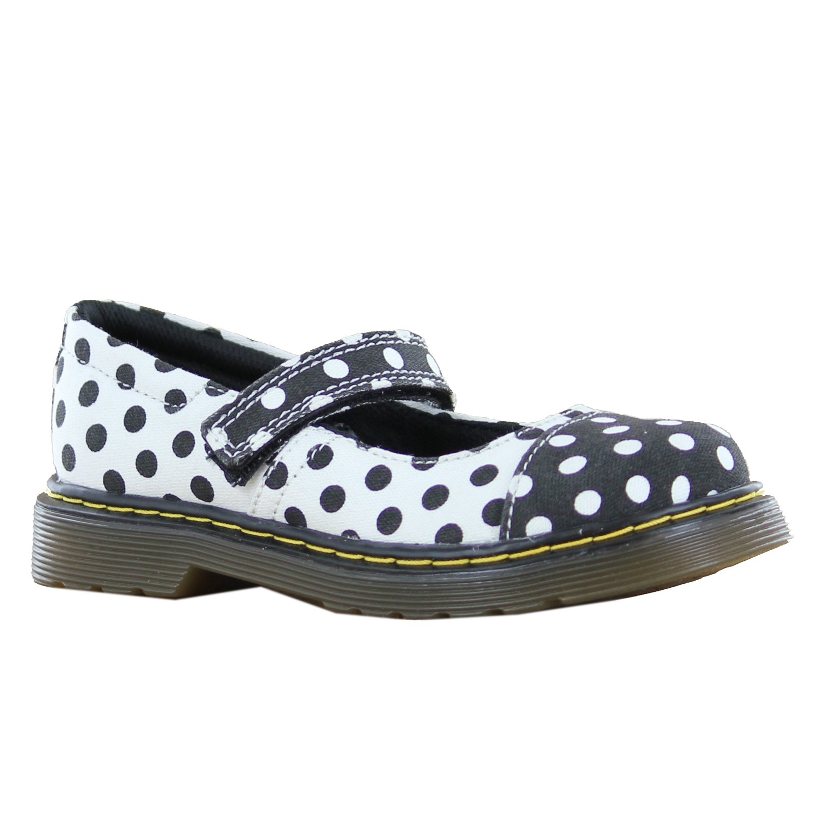 Dr. Martens Kid's Collection Girl's Bijou Toe Cap Mary Jane (Little Kid) Black+White/White+Black Dots Fine Canvas Flat 13 UK (1 US Little Kid) M by Dr. Martens (Image #1)