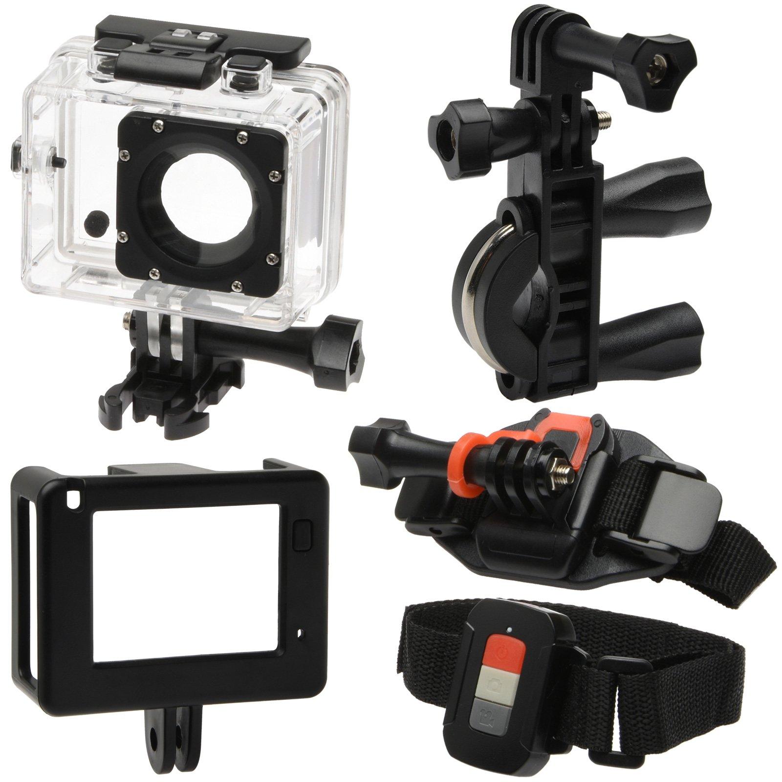 Vivitar DVR914HD 1440p HD Wi-Fi Waterproof Action Video Camera Camcorder (Black) + Remote, Helmet, Bike, Suction Cup + Dashboard Mounts + 64GB + Case Kit by Vivitar (Image #3)