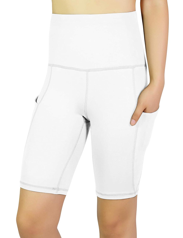 REETOYO Womens High Waist Tummy Control Workout Running 4 Way Stretch Yoga Shorts Side Pockets