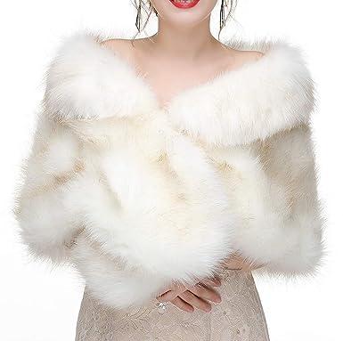 f4ef69fa84 Decahome Faux Fur Shawl Wrap Stole Shrug Winter Bridal Wedding Cover Up  White Fox Fur 35