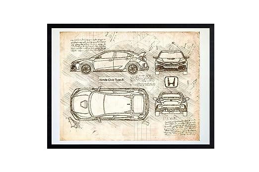 Amazon.com: DolanPaperCo #374 Honda Civic Type-R Hatchback FK8 (2017) Art Print, da Vinci Sketch - Unframed - Multiple Size/Color Options (17x22, ...