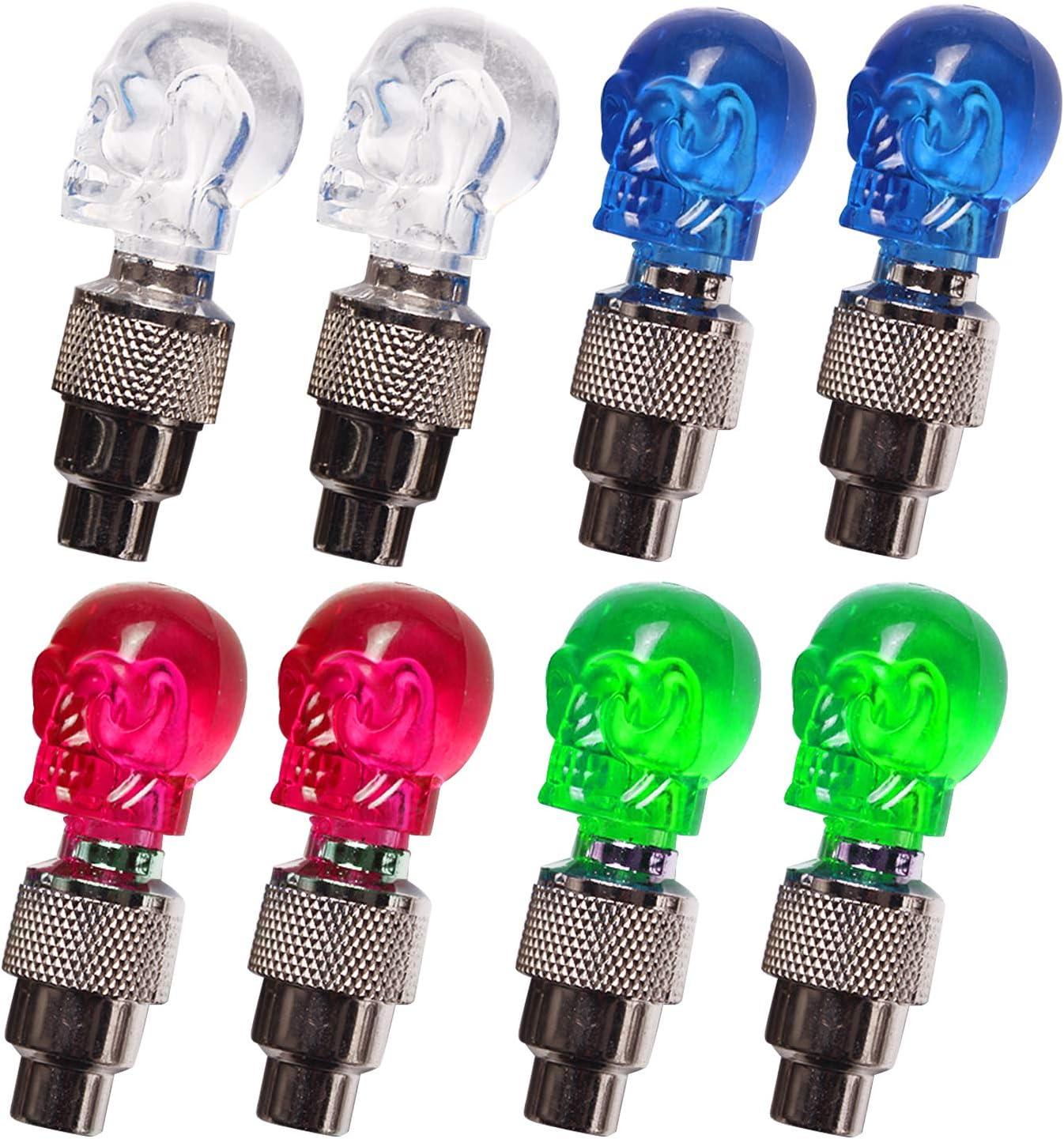 Vococal 8 Piezas Colorido Cráneo Cabeza Bicicleta Neumático Rueda Vástago Tapa Válvula LED Luces Lámpara para Bicicleta Motocicleta Bicicleta Coche: Amazon.es: Electrónica