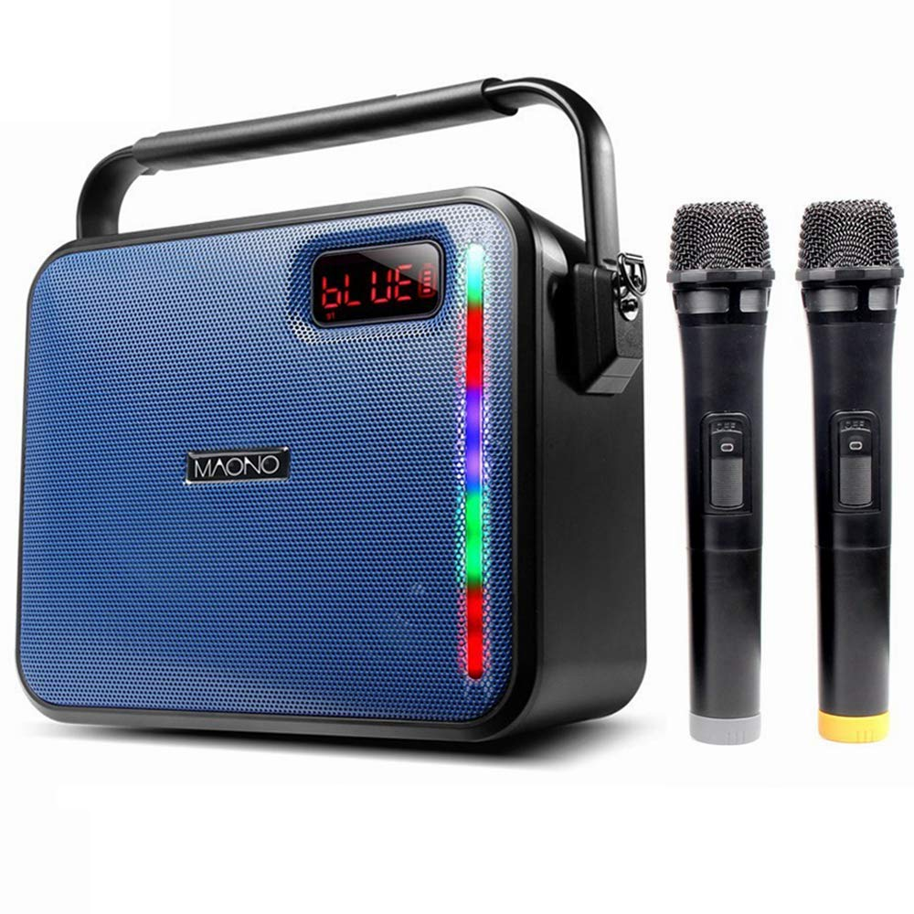 30W PA system, MAONO Bluetooth Karaoke Machine with Two Wireless Handheld Microphones for Christmas Adults Kids FM Radio (Blue) MN1009050301006