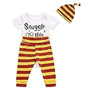 3Pcs/Set Baby Boy Girl Infant Short Sleeve Romper (Bodysuits + Striped Pants + Hat)(Short,6-9 Months)