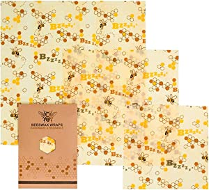 3Pack ECO-Friendly Reusable Beeswax Wraps,Kitchen Food Storage Save Zero Waste,Plastic-Free,for Lunch Bread Cheese Sandwiches Vegetables Fruits Snack