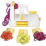 Zestkit Cortador de Verdura en Espiral con Manivela de 3 Cuchillas, Espiralizador de Verduras, Cepillo de limpieza incluido, Blanco y Amarillo