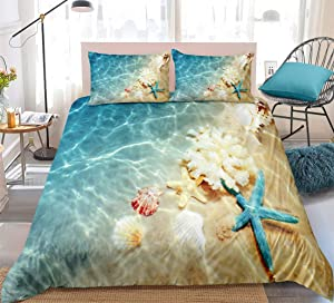 Ocean Duvet Cover Set Blue Beach Bedding Coastal Nature Theme Pattern Boys Girls Bedding Sets Twin 1 Duvet Cover 1 Pillowcases (Beach, Twin)