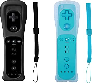 Donop 2 Packs Wireless Gesture Controller Compatible for Wii Wii U Console (Black and Blue)