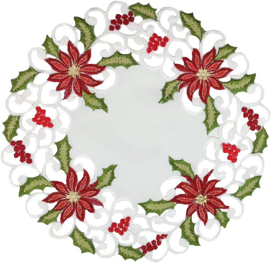 Xia Home Fashions Poinsettia Lace Embroidered Cutwork Christmas Doilies, 12-Inch Round, Set of 4
