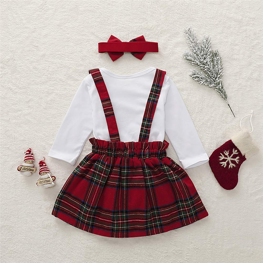 Toddler Baby Girls Outfit Cotton Ruffle Long Sleeve Shirts Tops with Girl Plaid Suspender Skirt Clothing Set