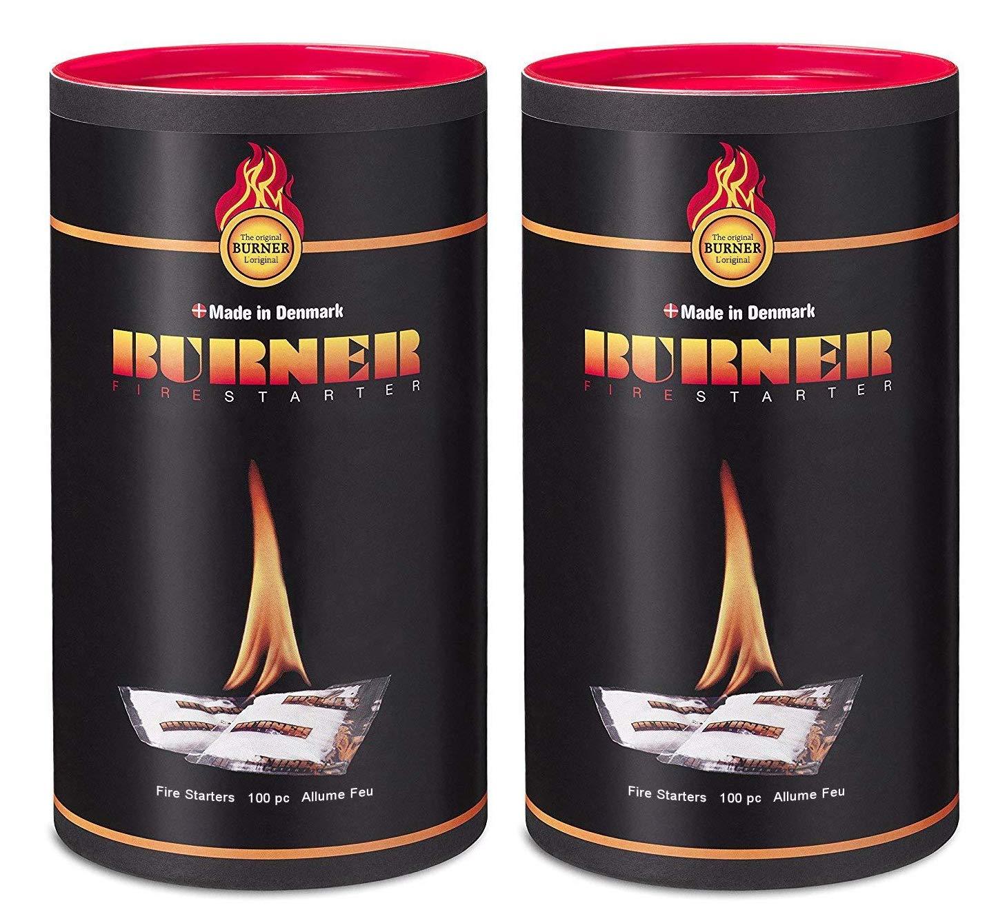Burner Accendifuoco Ecologico 2 x 100 Pezzi Biologico inodore di Origine Naturale per Barbecue, Camino, Stufa e caminetti - 200 bustine