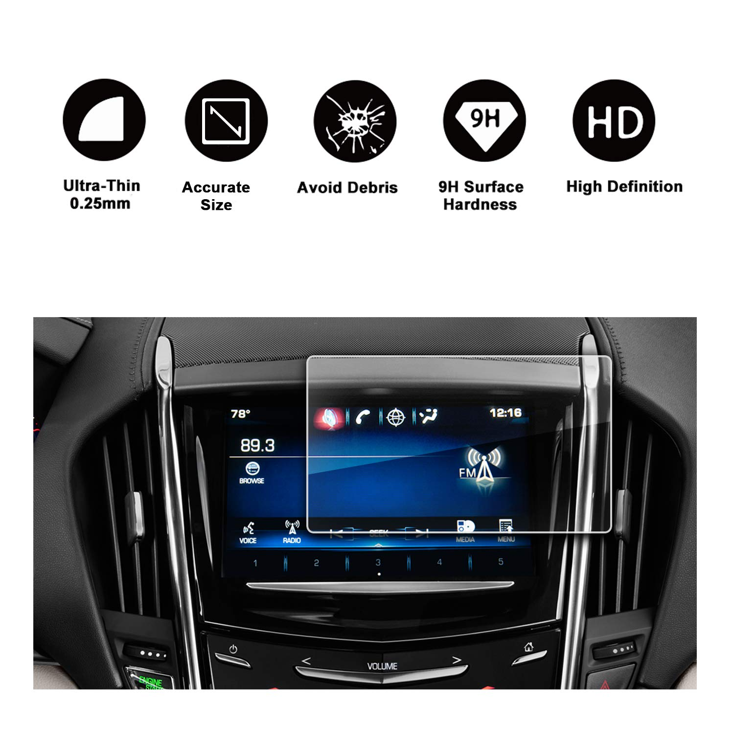 2013-2018 Cadillac ATS Cadillac SRX 8In CUE infotainment Interface Touchscreen Car Navigation Touch Screen Protector,Tempered Glass 9H Anti-Scratch and Shock Resistant