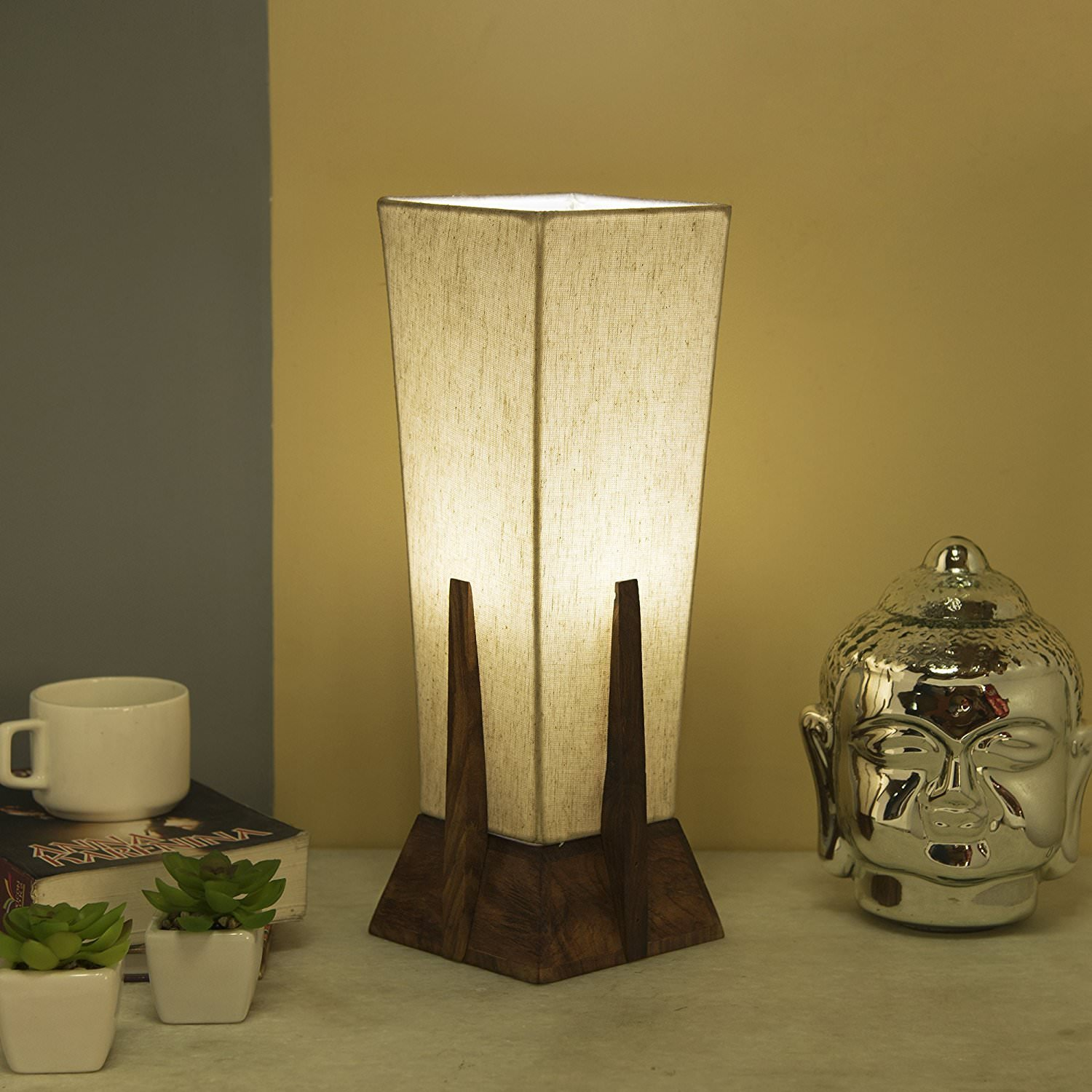 Hashcart Bedside Table Lamp, Solid Wood Table Lamp Bedside Desk Lamp with Square Flaxen Fabric Shade for Bedroom, Dresser, Living Room, Kids Room, College Dorm, Coffee Table, Bookcase