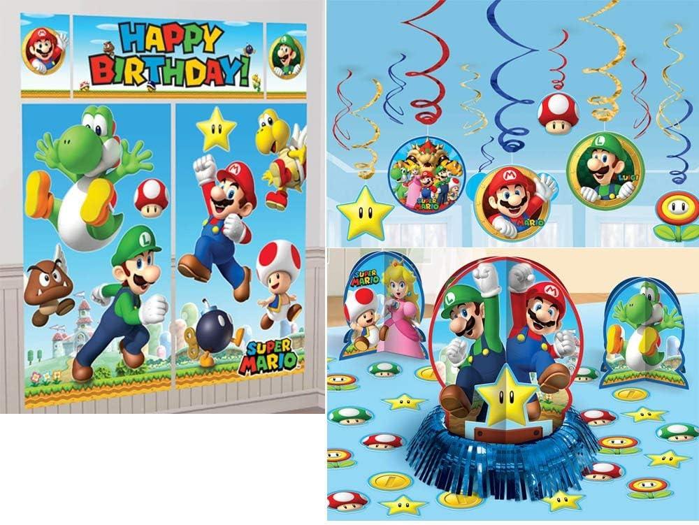 Super Mario Bros. Paquete de decoración de fiesta: Amazon.es: Hogar