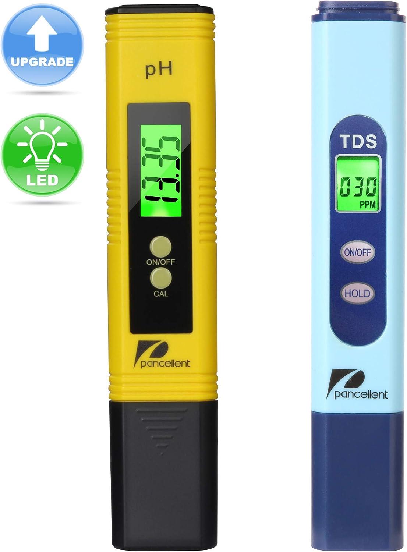 Pancellent Medidor de Prueba de Calidad del Agua TDS PH 2 en 1 Conjunto 0-9990 PPM Rango de medición 1 Resolución PPM 2% Precisión de Lectura (Amarillo)