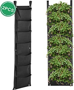 Hivexagon 2 Pcs Hanging Wall Planters 7 Pockets Vertical Garden Pouch Hanging Herbs Flowers Grow Bags Ideal for Garden Yard Home Office Indoor Decoration