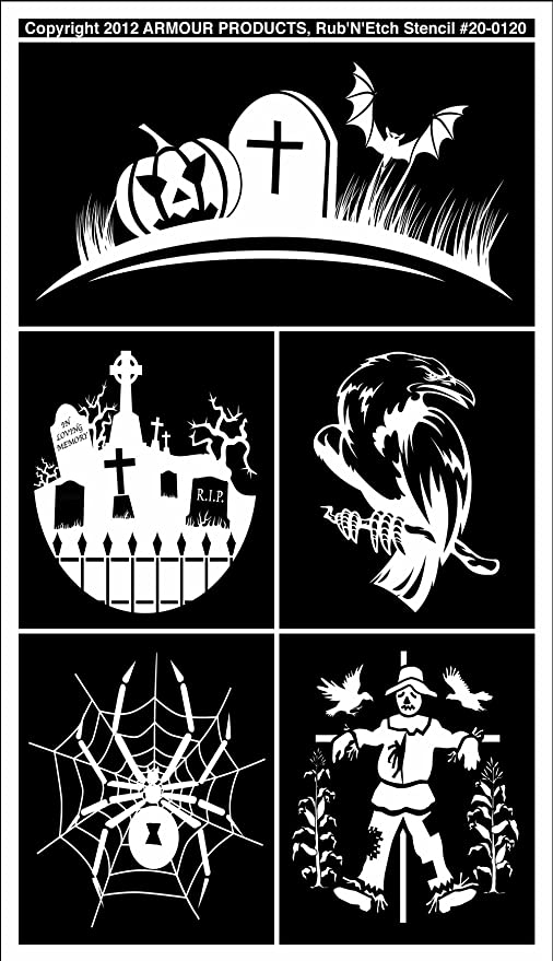 Halloween 2 5-Inch by 8-Inch Armour Products Etch Rub N Etch Stencil