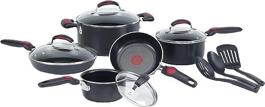 مجموعة أواني الطهي المقاومة للالتصاق برو 12 قطعة مقاومة للخدش والبقع الحرارية المؤشر الحرارة لغسالة الصحون من تي فال C306SC64 ، باللون الأسود
