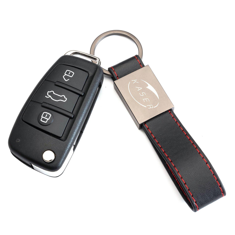 Coque Clé Télécommande Plip pour Audi A1 A3 A4 A6 A8 Q3 Q5 Q7 (8X0837220D) avec Porte-Clés en Cuir KASER yinshuang zhou