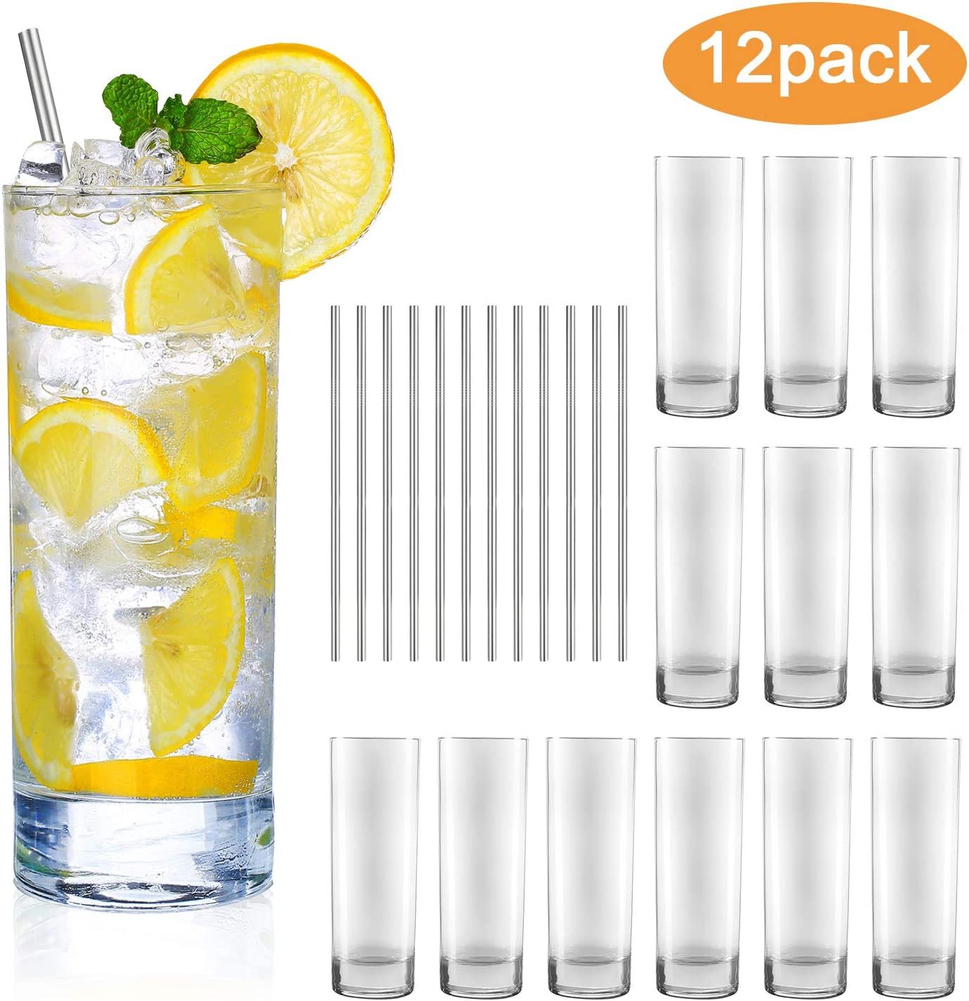 Glass Cups 10 oz,QAPPDA Clear Highballl Glass Cocktail Glass Drinking Glasses For Kitchen,Heavy Base Water Cup For Juice,Cocktails,Beverages,Drinking Cups Beer Cups Set Of 12 KTY1002