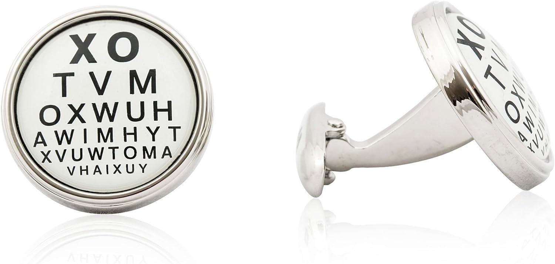 Eye Chart Pair Cufflinks Ophthalmologist Wedding Gift Box /& Polishing Cloth