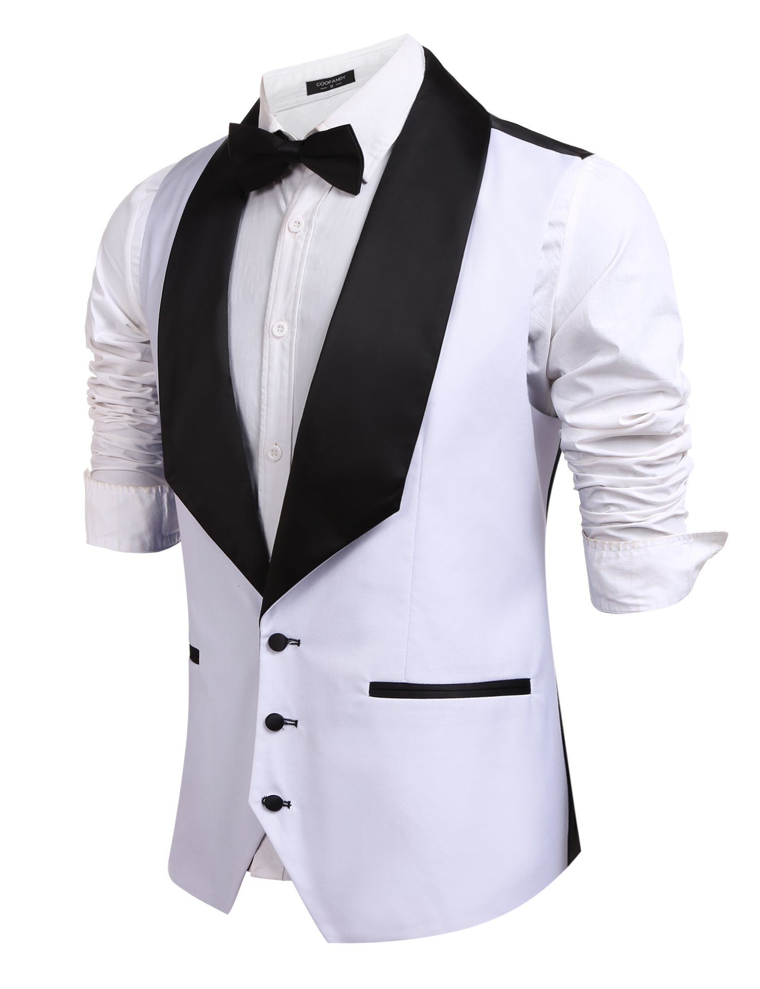 Coofandy Men's V-Neck Slim Fit Dress Suits Sleeveless Vest Waistcoat