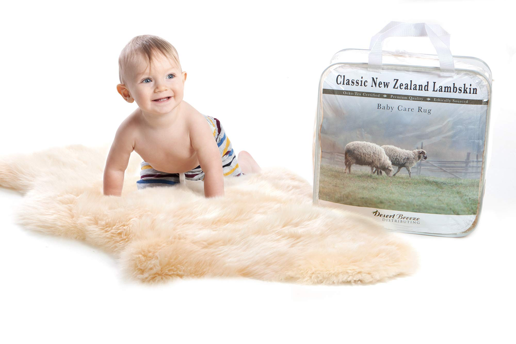 New Zealand Classic Lambskin, Ethically Sourced, Silky Soft Natural Length Wool, Un-Shorn Baby Care Rug, Premium Quality, Large Size 34'' to 36'' by Desert Breeze Distributing