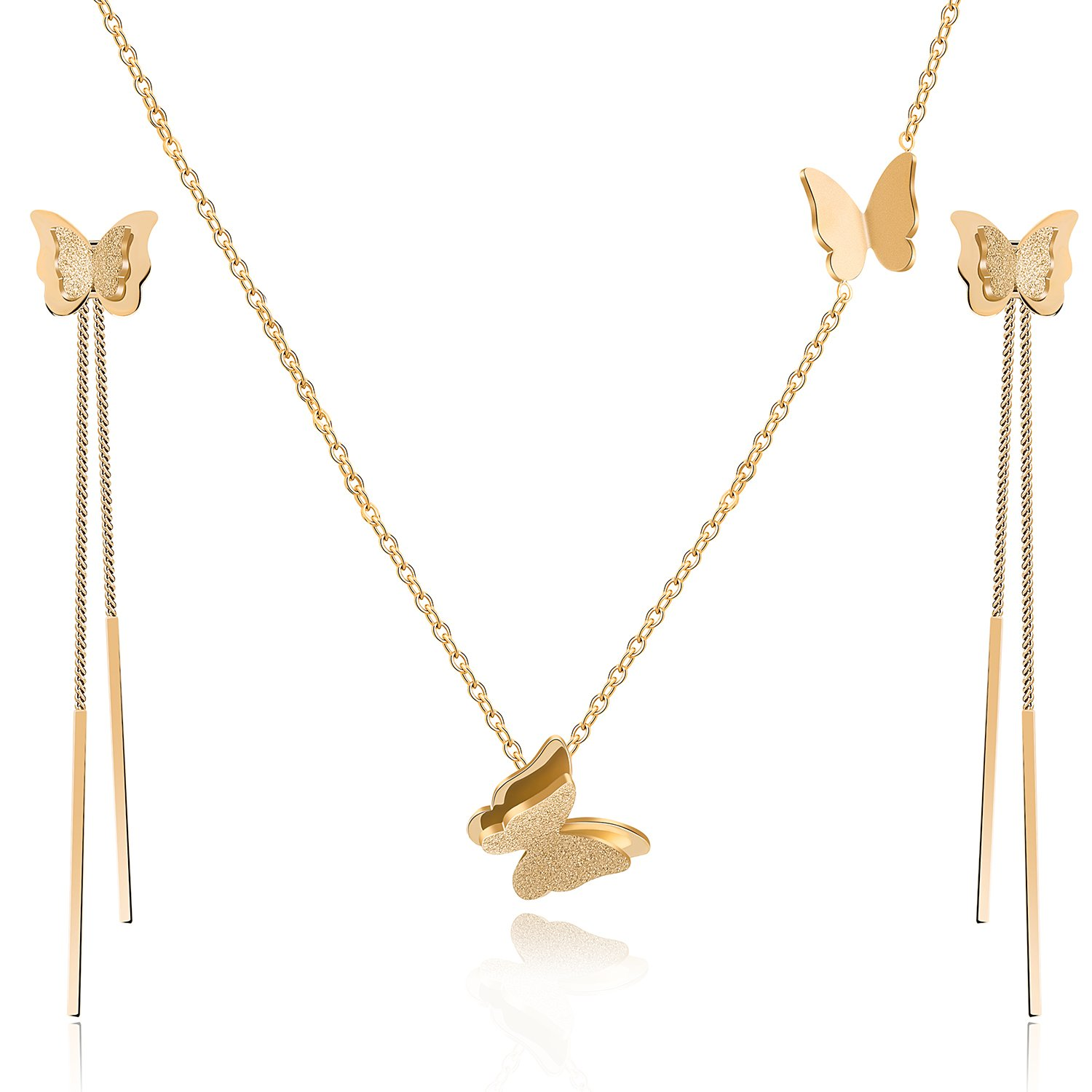 EVEVIC Stainless Steel Butterfly Necklace Earrings Set for Women Girls 14K Gold Plated Jewelry Sets