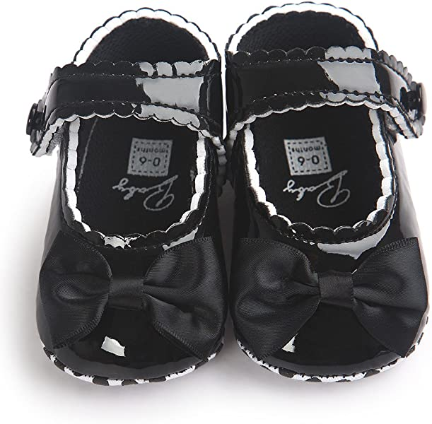 Deloito Baby Girl Bowknot PU Leather Shoes Sneaker Anti-Slip Soft Sole  Toddler Shoes 7e3b996faac4