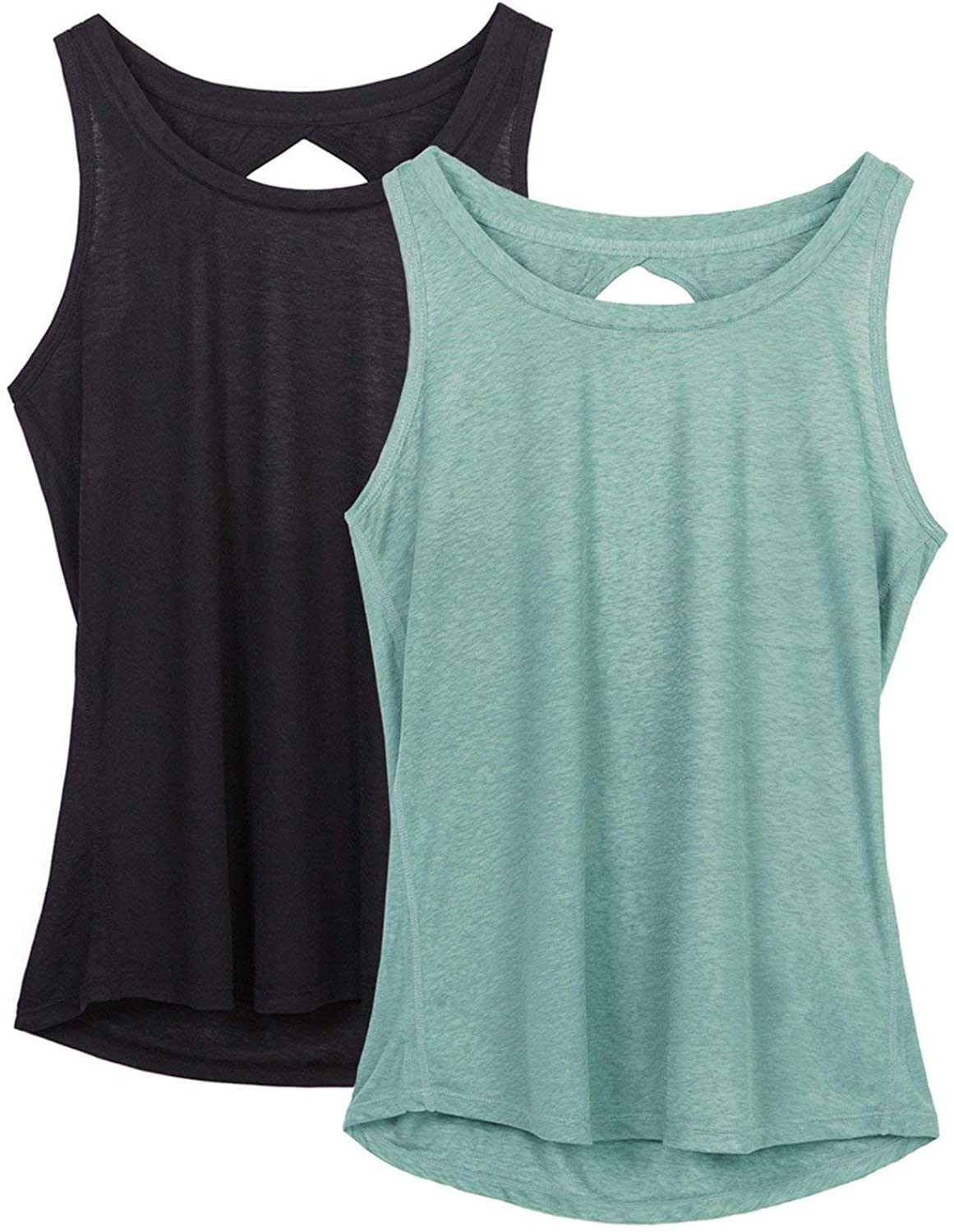 Athletic Exercise Strappy Tanks Gym Shirts Pack of 2 icyzone Workout Tank Tops for Women Yoga Tops