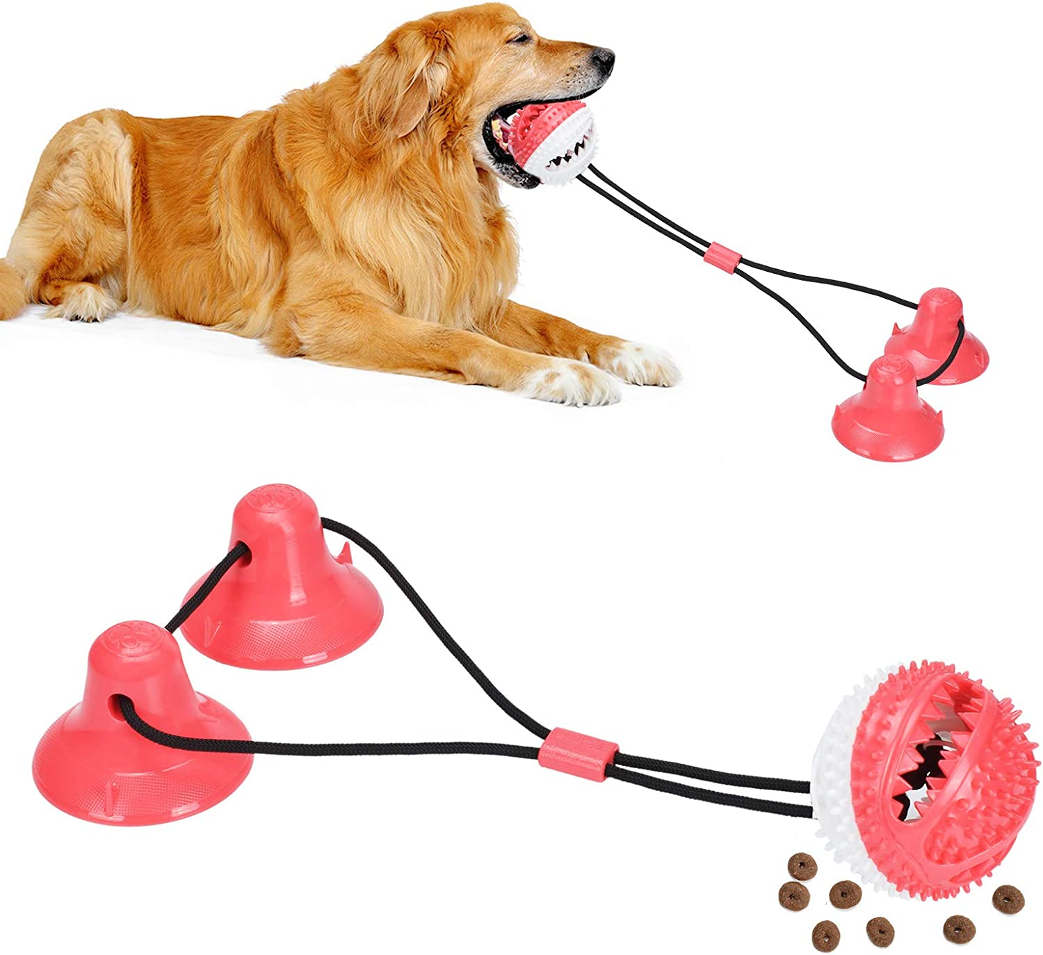 PetBonus Dog Chew Toys, Pet Rope Toys with 2 Suction Cups, Dog Puzzle and Teeth Cleaning Toy, Interactive Treat Food Dispensing Toys for Small Medium Large Dogs