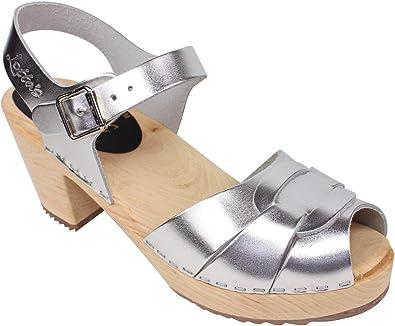 High Heel Peep Toe Clogs in Silver
