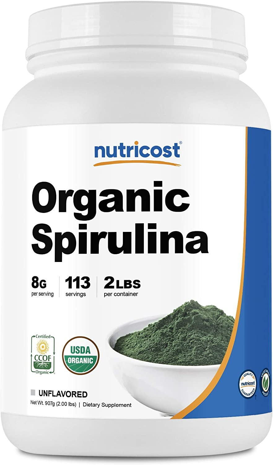 Nutricost Organic Spirulina Powder 2 Pounds - Pure, Certified Organic Spirulina: Health & Personal Care