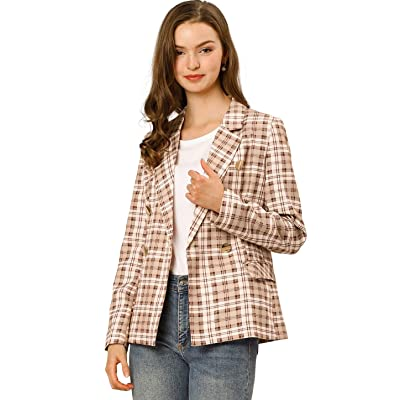 Allegra K Women's Notched Lapel Double Breasted Plaid Formal Blazer Jacket at Women's Clothing store