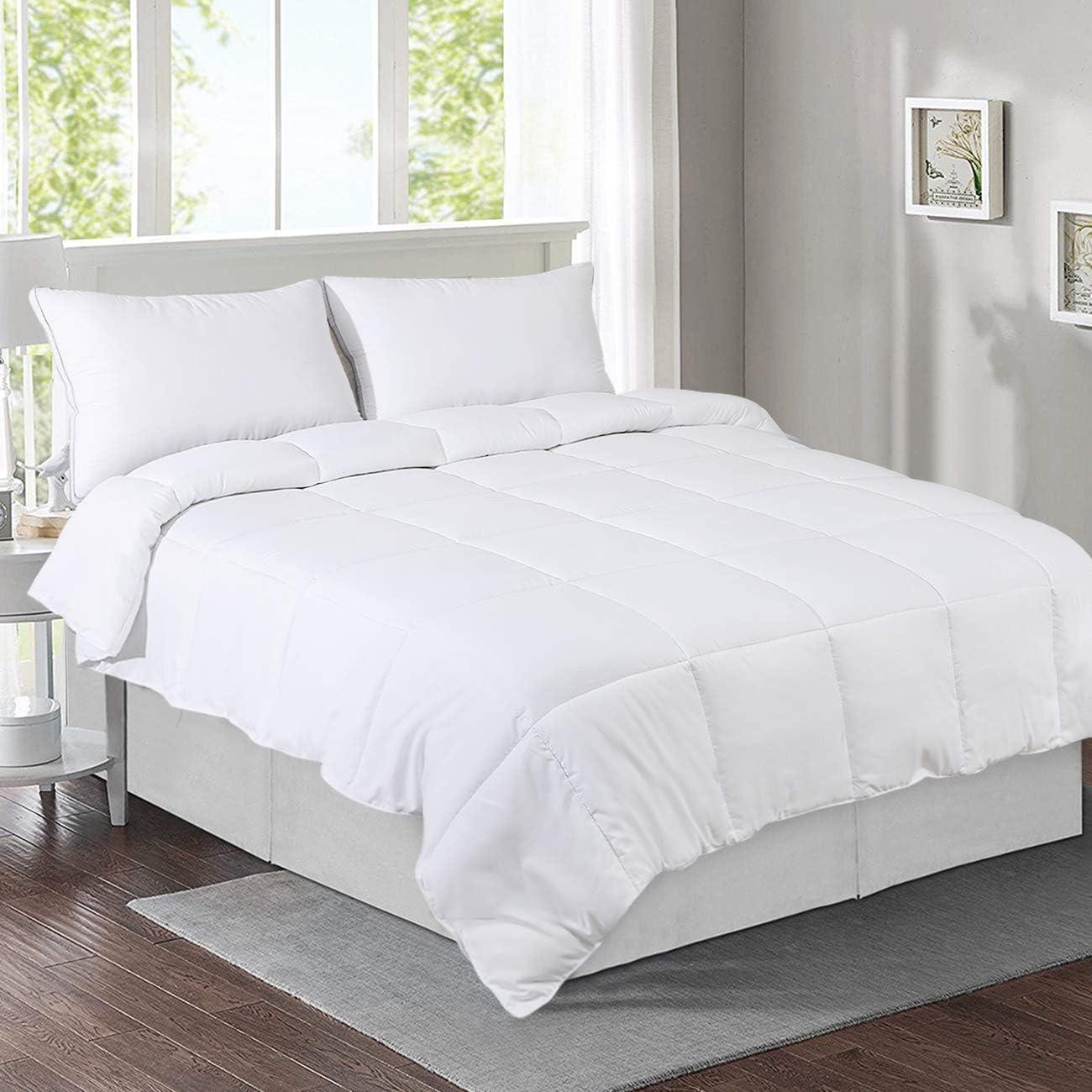 viewstar Queen Size Comforter, Lightweight Summer Cool Duvet Insert - All-Season White Down Alternative Quilted Comforters - Hypoallergenic - Machine Washable - Queen