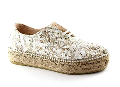 Alpargatas Edo Crema cruda Cordones Cuerda Plataforma de los Zapatos 41: Amazon.es: Zapatos y complementos