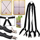 eZAKKA One Set Long Crisscross Adjustable Fitted Bed Matress Sheet Straps Suspenders Grippers Bands Fasteners