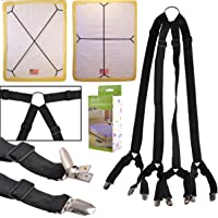 eZAKKA Bed Sheet Straps One Set Long Crisscross Adjustable Fitted Bed Sheets Corner Holder Suspenders Grippers Bands Fasteners Mattress Pad Cover Elastic Strap