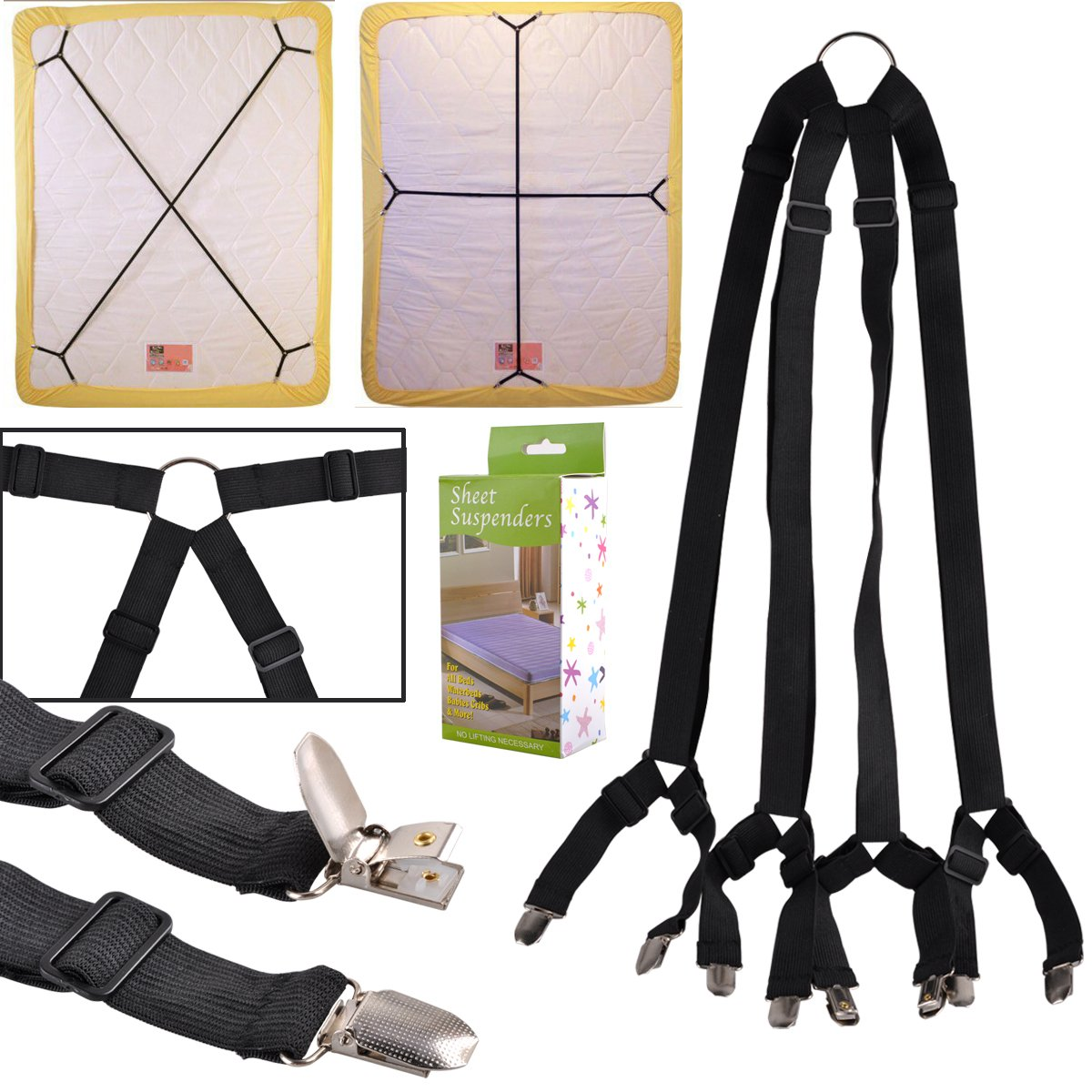 eZAKKA One Set Long Crisscross Adjustable Fitted Bed Matress Sheet Straps Suspenders Grippers Bands Fasteners COMIN18JU071091
